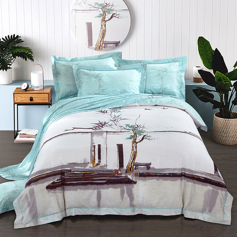 chinese style floral printed bedding sets queen king size luxury cotton linen tencel fabric summer duvet - Tencel Sheets