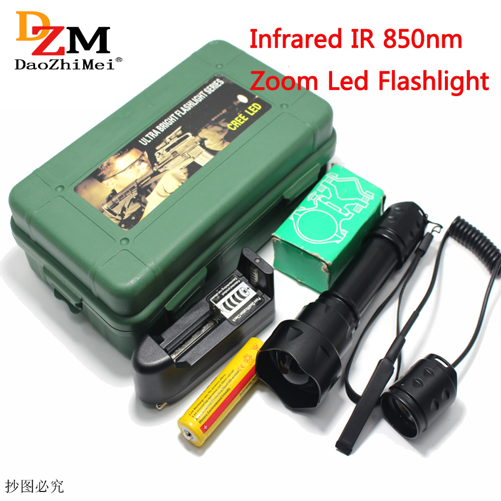 LED Torch IR 850nm Zoomable 1-Mode IR Flashlight +18650 rechargeable battery +charger+Mounts Pressure Switch box