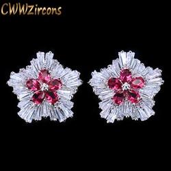 CWWZircons Korean Fashion Brand Jewelry Rose Red Cubic Zirconia Crystal Flower Christmas Earrings Presents For Women CZ179