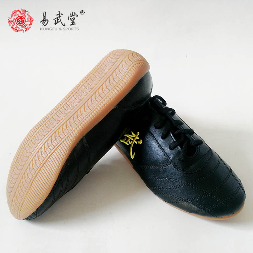 Yiwutang Chinese Kung fu shoes black Tai chi and Taiji shoes Leather Wu shu for men or woman Martial arts products taekwondo цена 2017