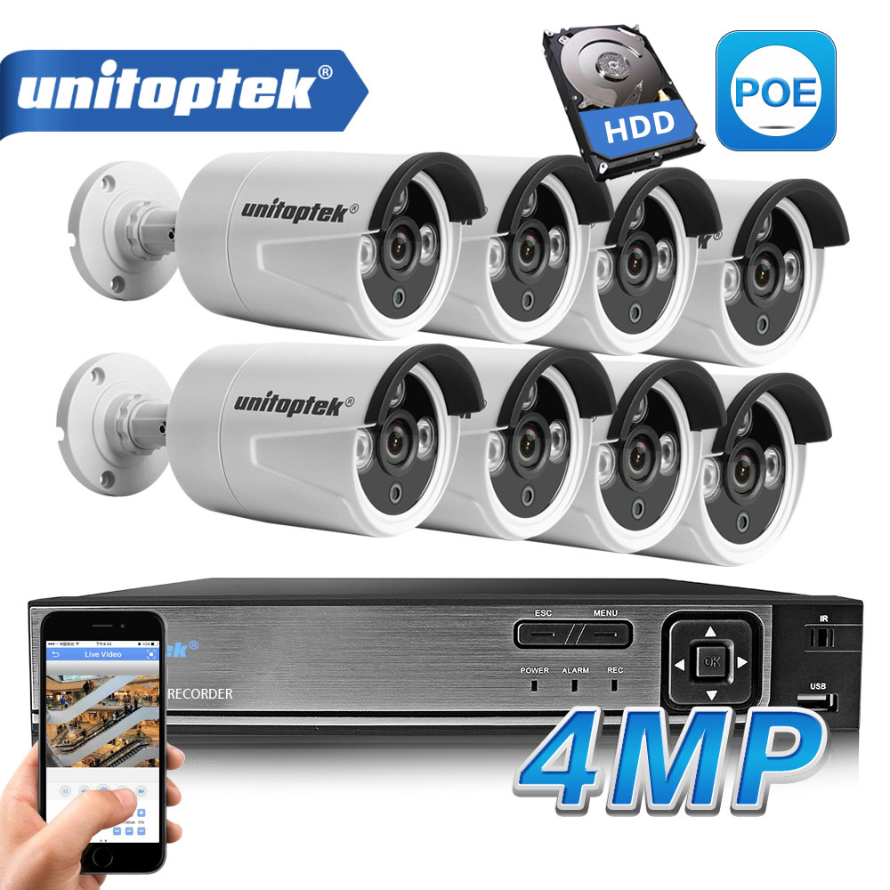HD H 265 4 0MP POE Security Camera CCTV System 4CH 8CH NVR With 2592 1520