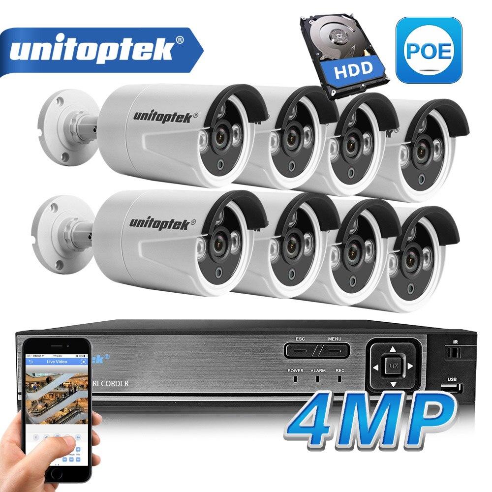 HD H.265 4.0MP POE Câmera De Segurança Sistema de CCTV 4CH/Dia 8CH NVR Com 2592*1520 Câmera IP Ao Ar Livre /noite Kit de Vigilância Por Vídeo