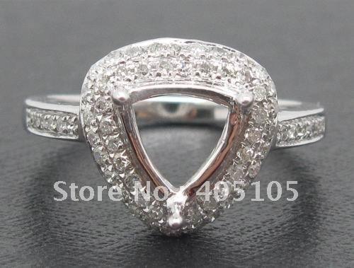 7x7mm Billones sólido 14 k Oro Blanco diamante NATURAL del montaje semi joyería, fascinante, envío gratis