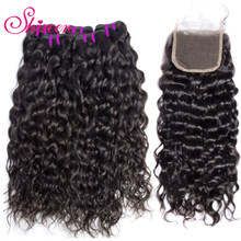 Shireen Hair Indian Water Wave Bundles With Lace Closure Natural Color Human Hair Bundles With Closure Non Remy Hair Extension(China)