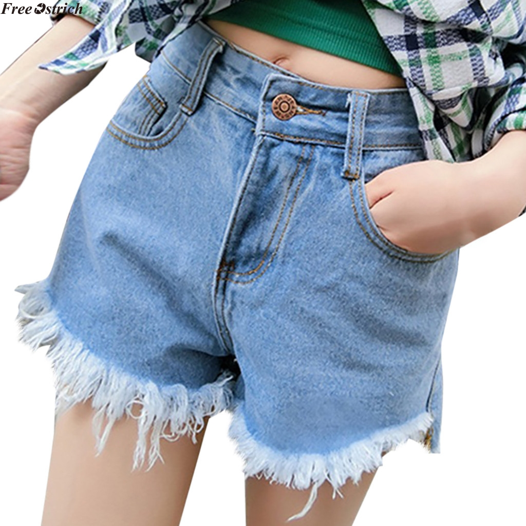 FREE OSTRICH New fashion women solid color simple wash personality curling through the hole   short   paragraph casual jeans   shorts
