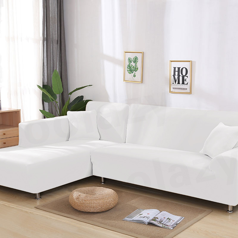US $3.87 51% OFF|1/2 pieces White Sofa Cover Set Couch Cover Elastic Sofa  Covers for Living Room Pets Stretch L Shaped Chaise Longue Sofa Cover-in ...