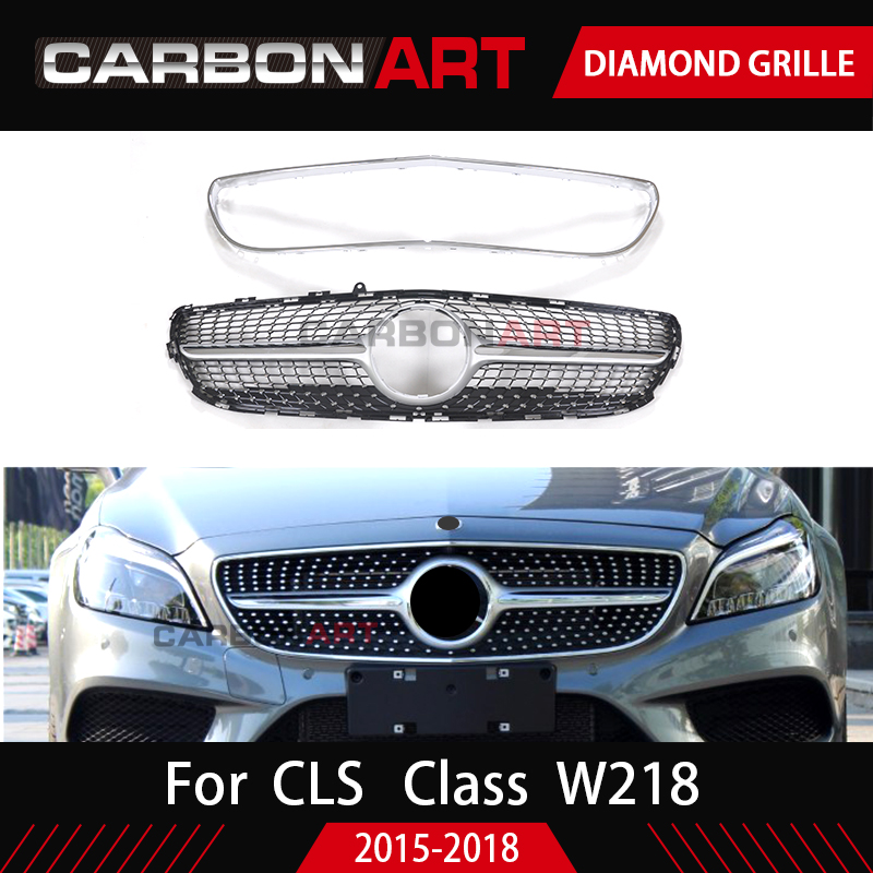 <font><b>W218</b></font> grille Diamond Style design replacement ABS Front <font><b>grill</b></font> mesh for Mercedes 2014-2018 CLS CLASS <font><b>W218</b></font> grille image