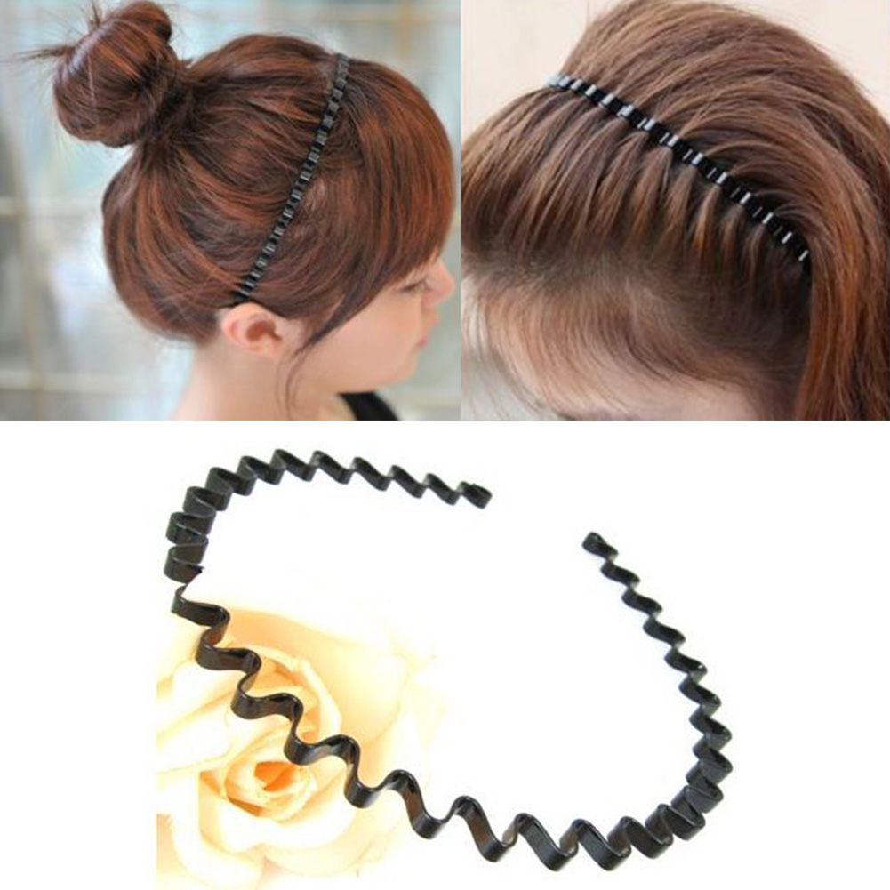 Hot Sale Women Men band Unisex Black Spiral Wave band Hair Hoop Fashion Simple Alloy Hair Hoop Accessories 5 in Women 39 s Hair Accessories from Apparel Accessories