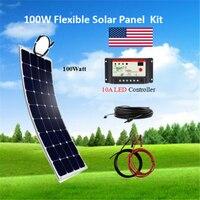 100 واط مرنة لوحة طاقة شمسية RV كيت مع PWM 10A LED 12 V/24 V جهاز تحكم يعمل بالطاقة الشمسية + 5M الشمسية كابل أو 3M التمساح كليب|النظام|   -
