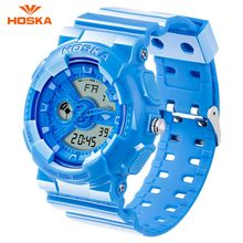 HOSKA Fashion Sports Electronic Watches Students Outdoor Dual Display Luminous Watches Silicone Strap