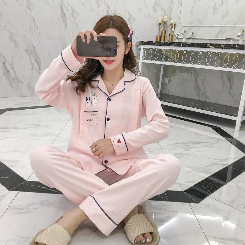 Breastfeeding pajama breast feeding nightwear maternity nursing pajamas set sleepwear pregnancy pyjamas autumn