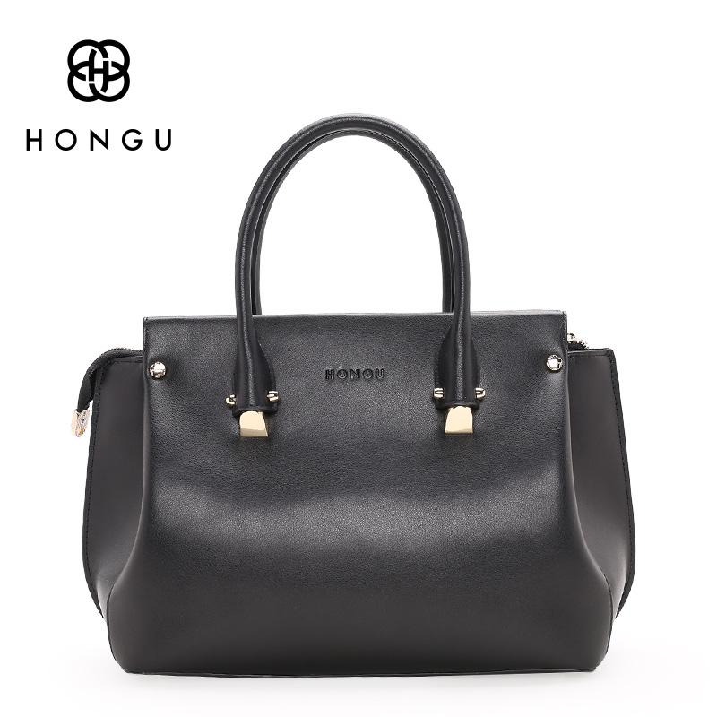 HONGU Famous Brand Natural Genuine Leather Bag Women Handbags Shoulder Bags Tote Pink Multicolour Lady Versatile Top-handle Bags