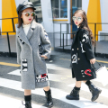 100~150 cm height wool long overcoat teenage fashion clothing woolen winter girls outwear 2016 red black gray