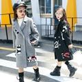 100~150 cm height wool long overcoat teenage fashion clothing woolen winter girls outwear 2016 red black gray