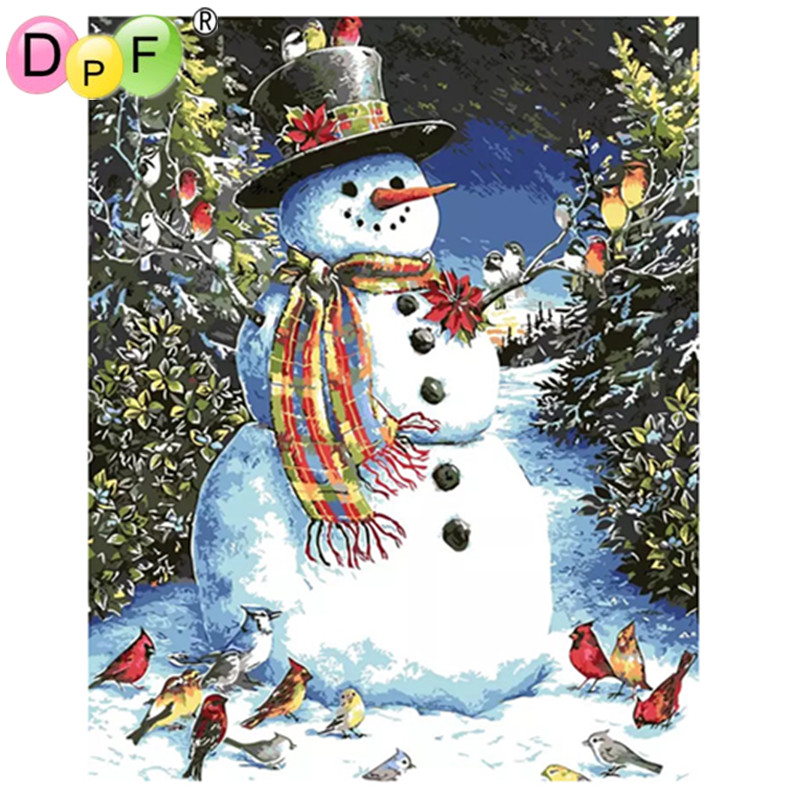 DPF Frameless Pictures Christmas snowman DIY Painting digital By Numbers Home Decoration handmade oli painting artwork for gift