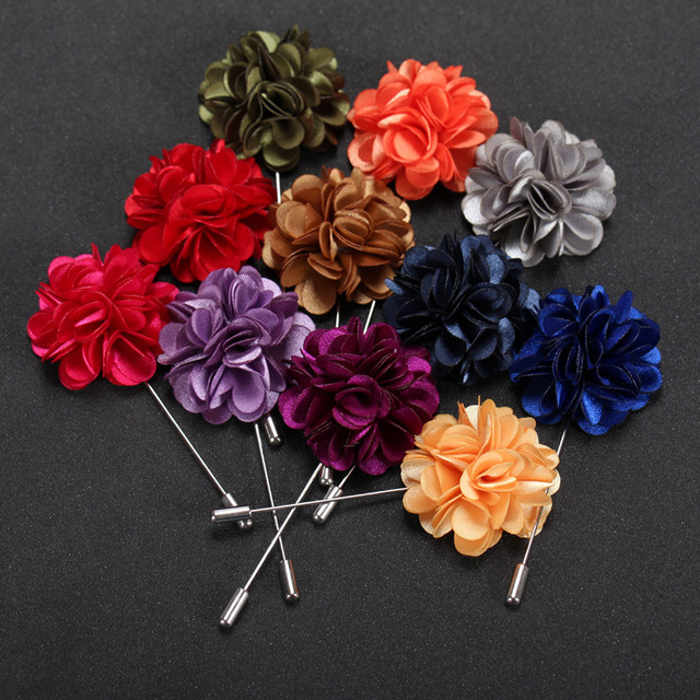 20 Pcs Lot Mens Flower Lapel Pin Satin Floral Pins Boutonniere For Wedding