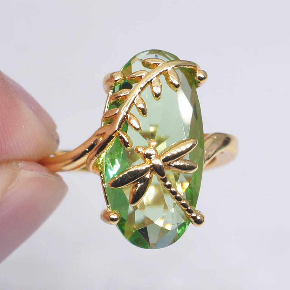Dragonfly แหวนโปร่งใส Peridot แหวนที่ไม่ซ้ำกันหรูหรางานแต่งงานแหวน Gorgeous เครื่องประดับอุปกรณ์เสริมเครื่องประดับ Anillos