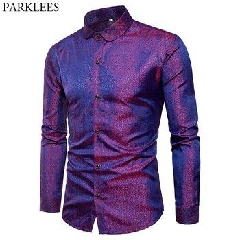0a40f4df55c8344 Шелковая атласная рубашка для мужчин 2018 новая брендовая гладкая рубашка-смокинг  блестящее Золотое Платье с принтом в горошек повседневные .