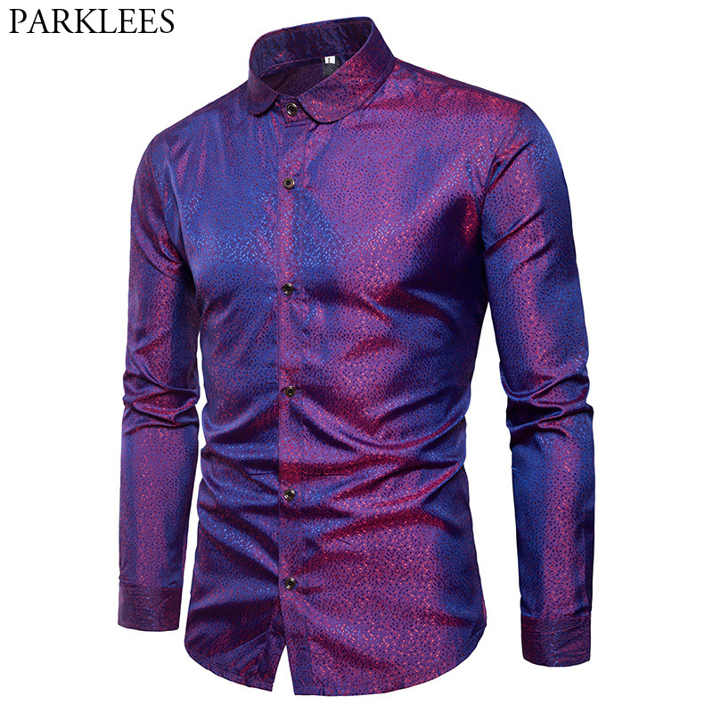 Silk Satin Shirt Men 2018 Brand New Smooth Tuxedo Shirt Shiny Gold Dot Print Wedding Dress Shirts Casual Slim Fit Purple Shirt