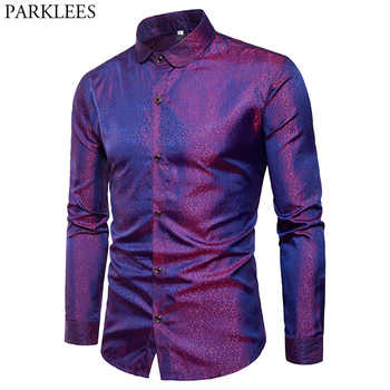 Silk Satin Shirt Men 2018 Brand New Smooth Tuxedo Shirt Shiny Gold Dot Print Wedding Dress Shirts Casual Slim Fit Purple Shirt - DISCOUNT ITEM  50% OFF All Category