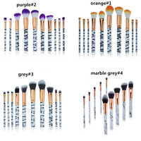 10Pcs Marbling Makeup Brushes Set Powder Foundation Eyeshadow Cosmetic Tools Marble Makeup Brush Eyes Concealer Brush