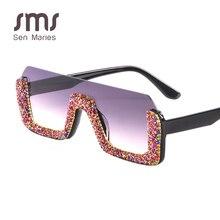 Luxury Crystal Square Sunglasses Women Brand Designer Half Frame Oversized Rhinestone Men Eyeglasses For Female UV400