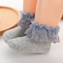 Новые детские носки с кружевными бантами носки принцессы для новорожденных девочек хлопковые носки-тапочки для малышей calcetines Recien Nacido Neonato