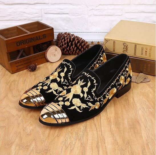 2016 Autumn Top Sale Luxury New Floral Embroidered Fashion Shoes Slip On Gold Metallic Mens Loafers Leather Wedding Flats Shoes