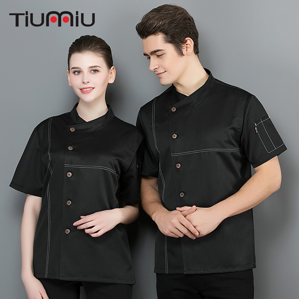 2019 Chef Jacket Summer Breathable Mesh Short Sleeve Chef Waiter Shirt Restaurant Kitchen Hotel Cooking Uniform Work Clothes