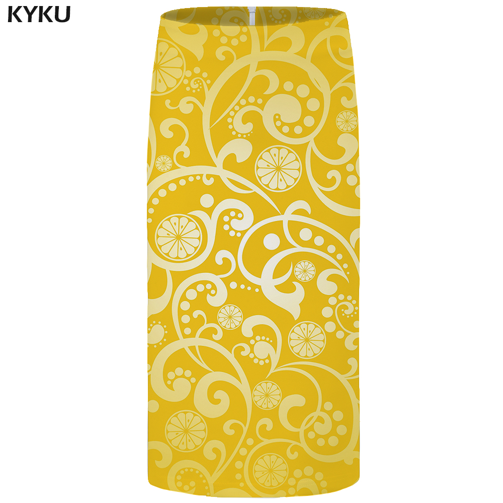 KYKU Graphics Skirts Women Yellow Party Vintage Sundresses Floral Pencil 3d Print Skirt Sexy Harajuku Ladies Skirts Womens New