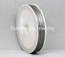 Doreen Box Lovely 1 Roll Silver Tone Steel Beading Wire 0.8mm(B09987)