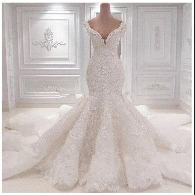 Vestido De Noiva Long Mermaid Wedding Dresses Chapel Train Gowns Sexy Sweetheart Lace Dress