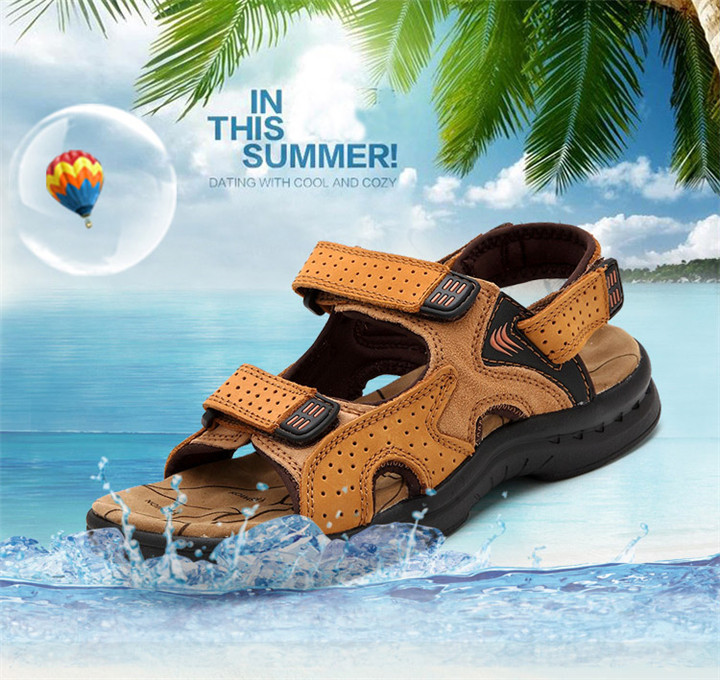 HTB1xyv7bizxK1Rjy1zkq6yHrVXao - ROXDIA Genuine Leather New Fashion Summer Breathable Men Sandals Beach Shoes Men's Causal Shoes Plus Size 39-44 RXM002