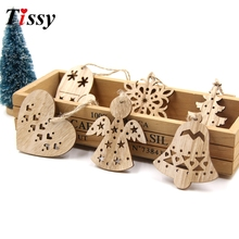 6PCS Cute Christmas Snowflakes&Angle Wooden Pendant Ornaments DIY Craft Xmas Tree Ornament Christmas Party Decorations Kids Gift