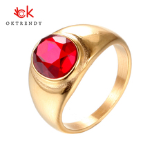 Oktrendy Stainless Steel Mens Rings 7-12 Size Rhinestone Big Crystal Wedding Rings For Women Gold Color Fashion Jewelry все цены