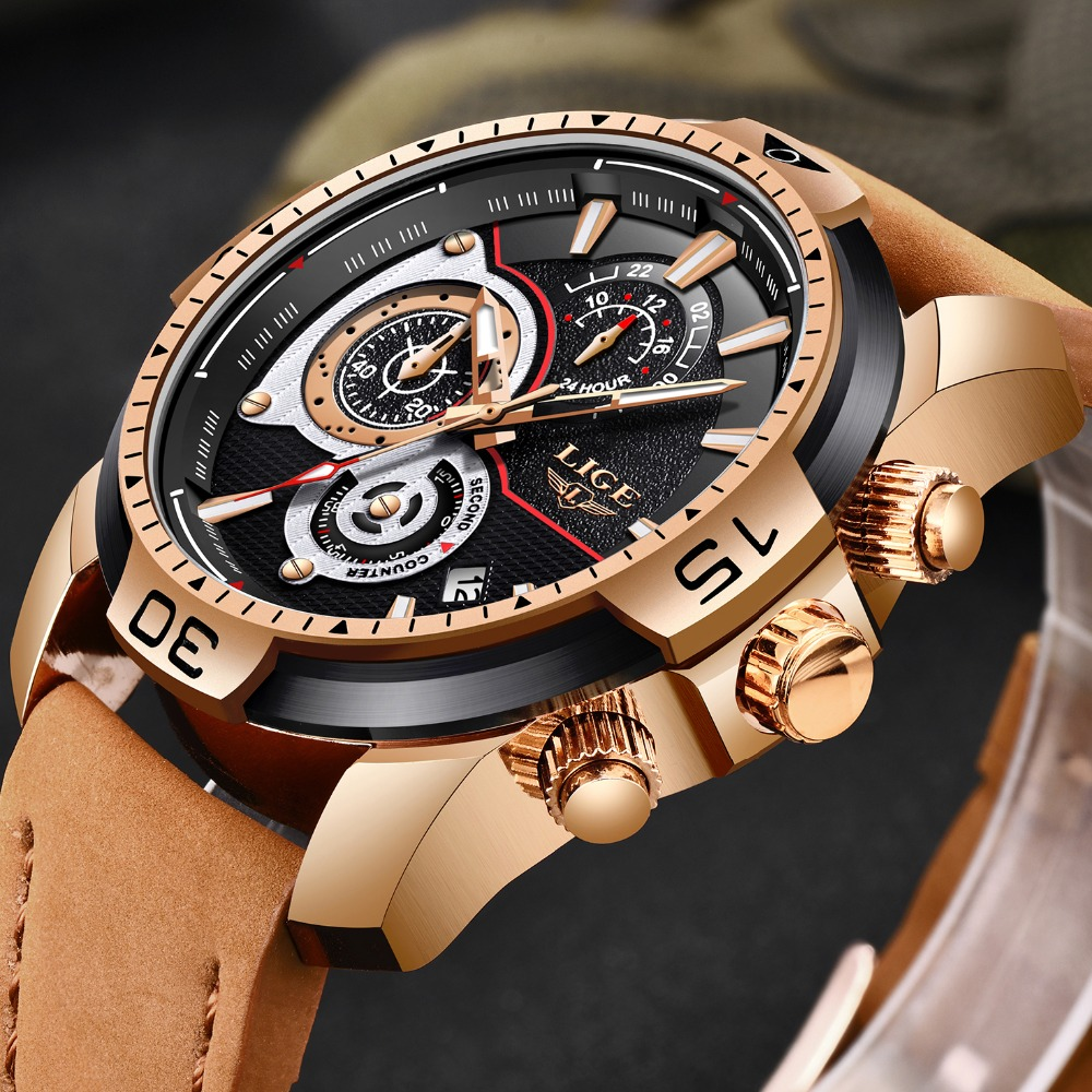 LIGE Watch For Men Waterproof Sport Chronograph Date Calendar Quartz Watches Mens Luxury Business Gold Leather Wristwatches+Box