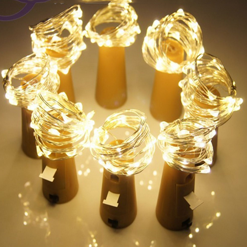 100pcs Garland Copper Silver Wire String Lights 20 LEDs Bottle Stopper Cork Fairy Lights for Holiday Wedding Party Decoration