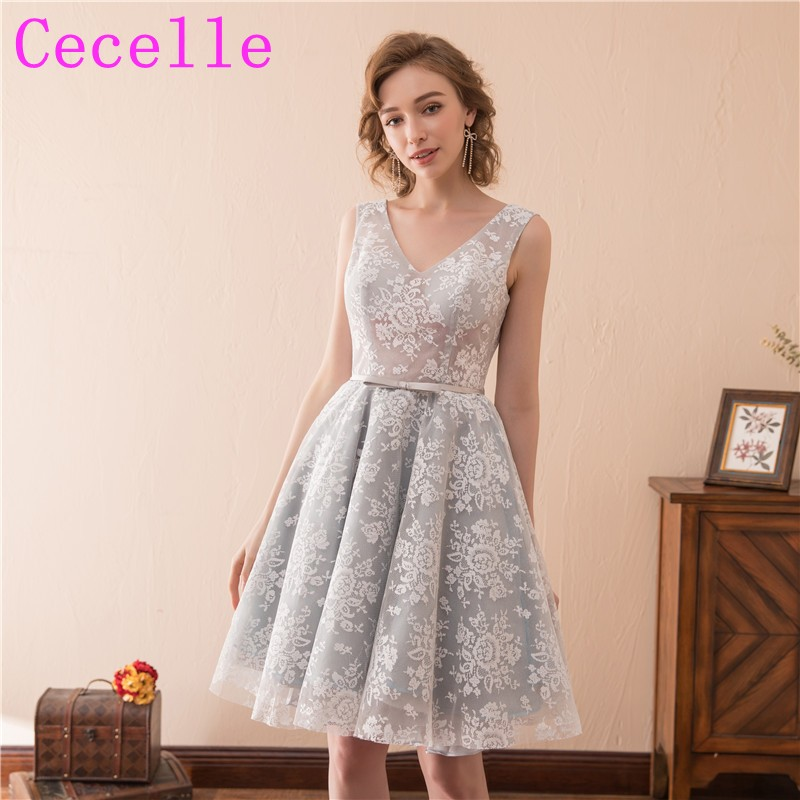 store search for latest best website 2019 New Silver Short Cocktail Dresses Lace A line Knee ...