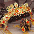 The bride wedding headdress costume Chinese retro hair ornaments suit show clothing accessories wedding gown dragon wo