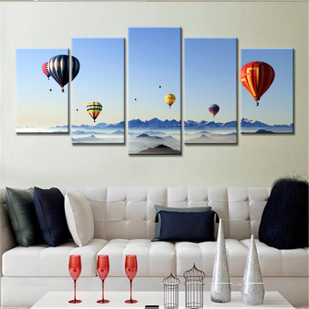 5 Panels Drop Shipped Blue Sky Home Decor Hot Air Balloon
