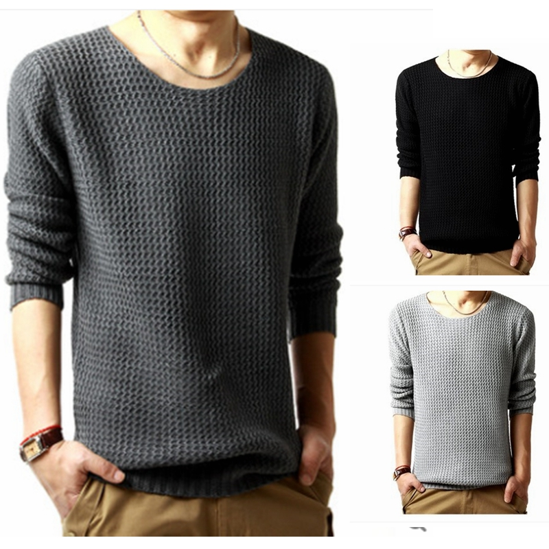 Mens 2018 Sweater Men's New Round Neck Pullover Sweater  Of Knitted Spring Autumn Dress Quality Knitted Brand Male Sweaters