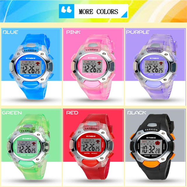 Moment # L04 2018 top brand Multi-Function 30M Waterproof children's Watch LED Digital Double Action boy Watch girl watches Free