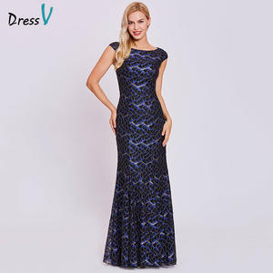 Dressv Sleeves Mermaid Lace Wedding-Party Black Long Cap Cheap Scoop Floor-Length