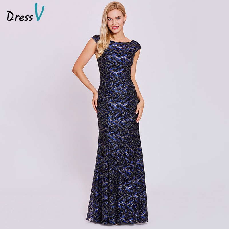 Dressv black long   evening     dress   cheap scoop cap sleeves lace mermaid floor length wedding party formal   dress     evening     dresses