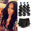 Ear To Ear Lace Frontal Closure With Bundles Peruvian Virgin Hair Body Wave With Closure Human Hair 3Bundles With 13x4 Closure