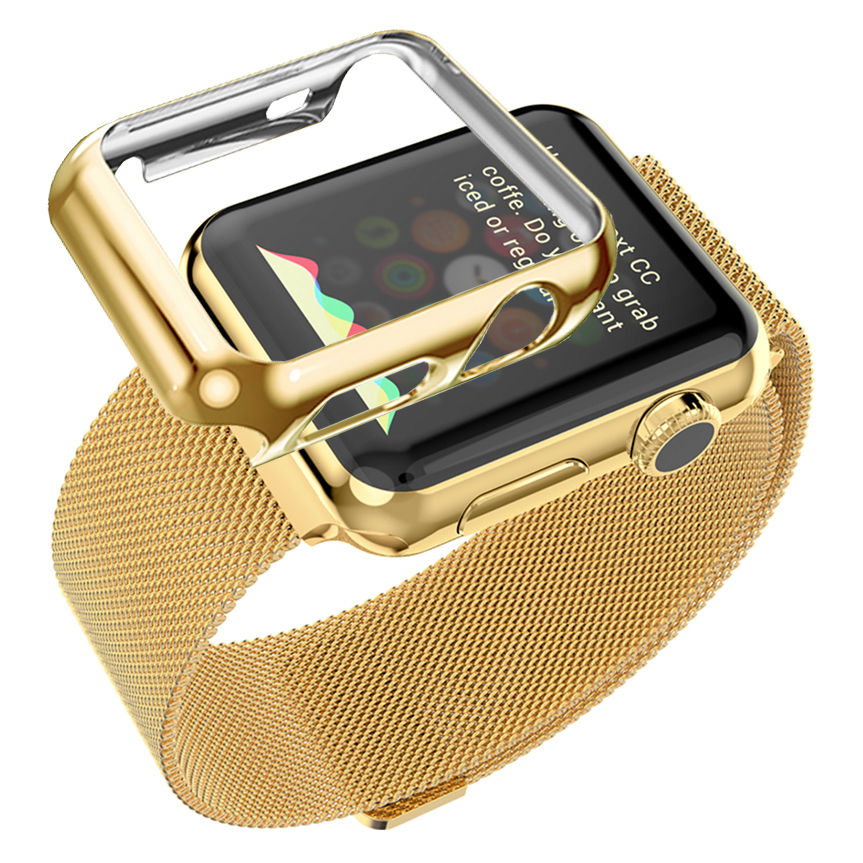 new style b849b 1b643 US $26.9  Milanese Loop Bracelet Replacement Wristwatch Bands Ultrathin  Gold Plated Cover For Apple Watch iwatch-in Watchbands from Watches on ...