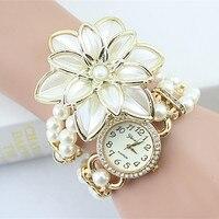 2017 Hot Sale Lady Luxury White Flower Bracelet Watches Women Fashion Pearl Quartz Wristwatches Relogio Feminino