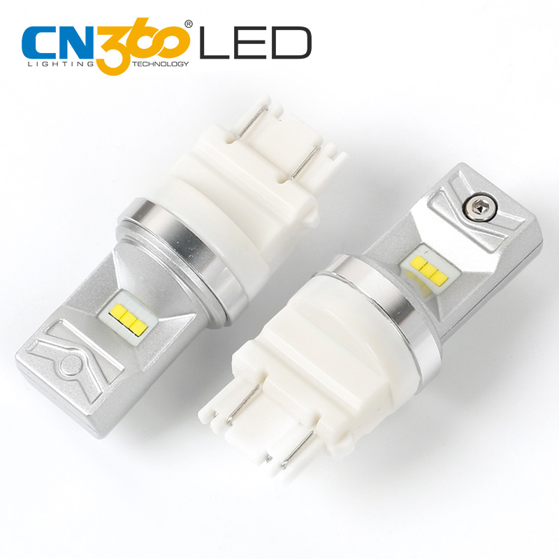 CN360 2PCS CSP 3157 LED Brake Light White Smaller Size Automobiles Lights Signal Bulb High Lumens Good Light Beam Pattern 12V ...