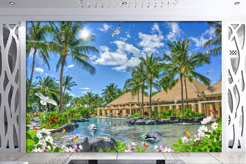 modern 3d photo wallpaper Custom 3d stereoscopic Sanya beach blue sea blue sky pavilion pool HD photo 3d wall murals wallpaper battlefield 3 или modern warfare 3 что