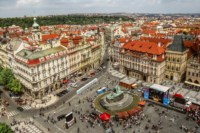 Prague old town square view houses block people monument Living room home art decor wood frame fabric poster 368FJ